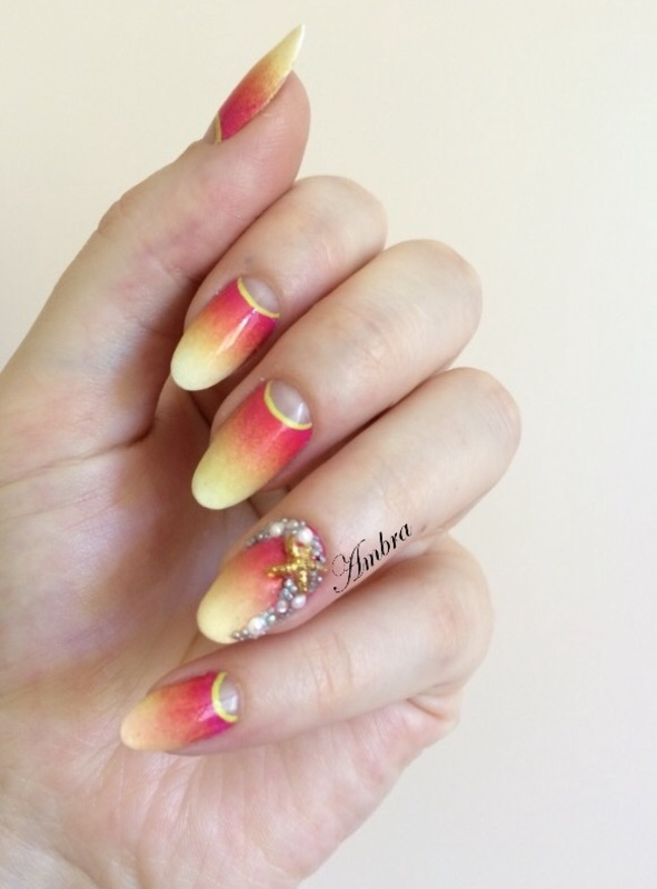 Gradient moon manicure & strass nail art by AmberNails