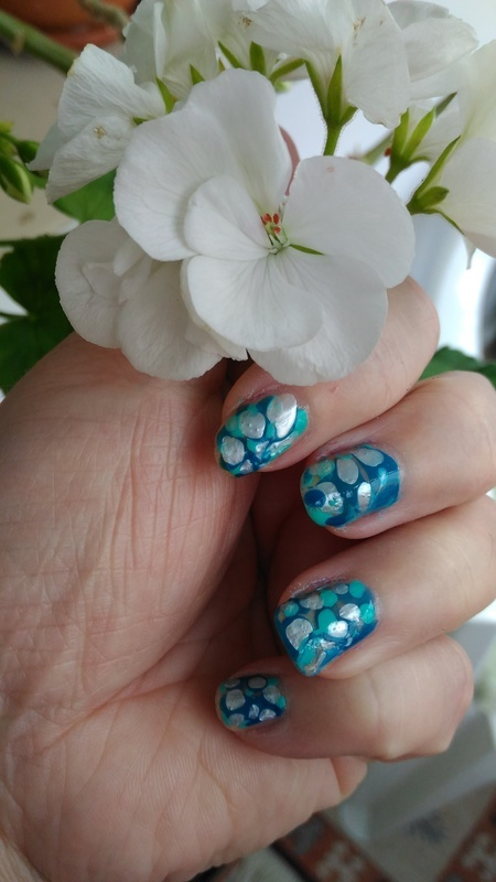 Mermaid blue nail art by tigerlyly