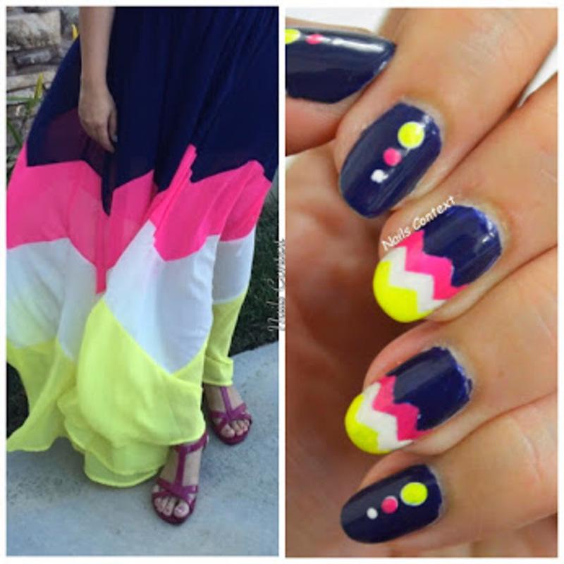 Colorblock Chevron Nails nail art by NailsContext