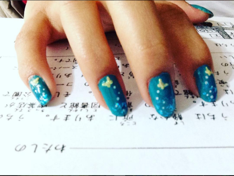 Blue spring  nail art by Miuvey Cho
