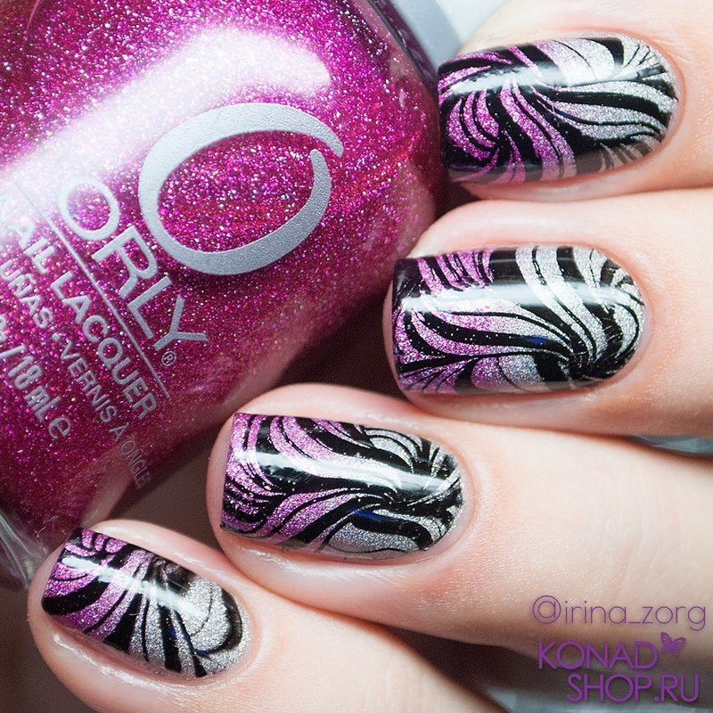 Silver and Pink gradient and Stamping  nail art by Irina Zorg