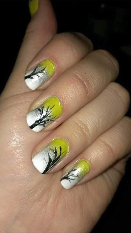 Autumn trees  nail art by Sabina Salomonsson