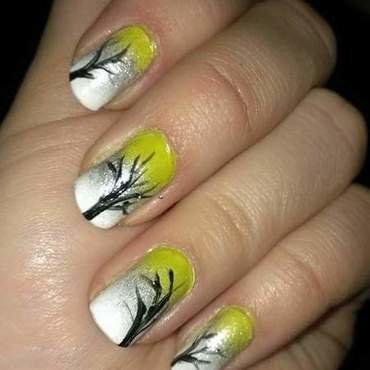 Autumn trees  nail art by Sabina Salomonsson