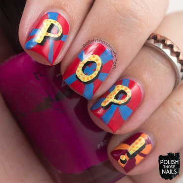 Pop bright typography nail art 4 thumb370f