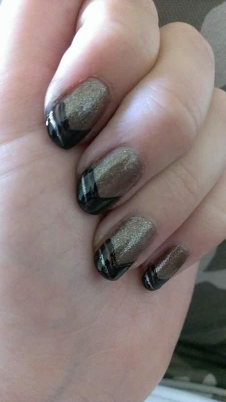 Golden black tip nail art by Sabina Salomonsson