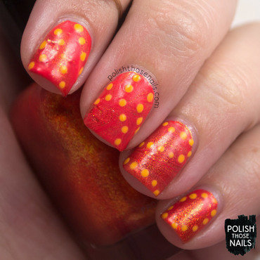 Bright orange shimmer watermarble polka dots nail art 4 thumb370f