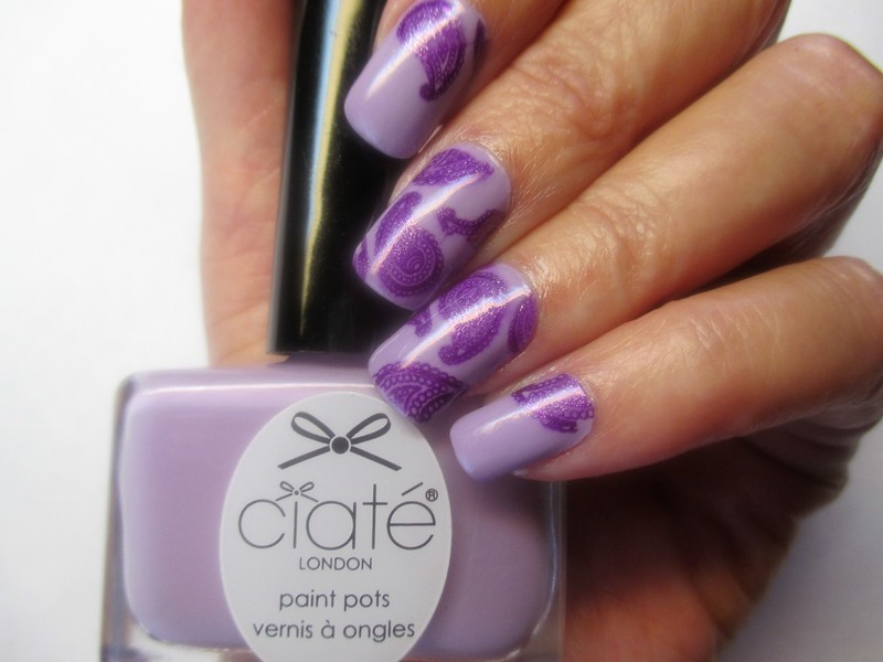 Purple Paisley nail art by NinaB