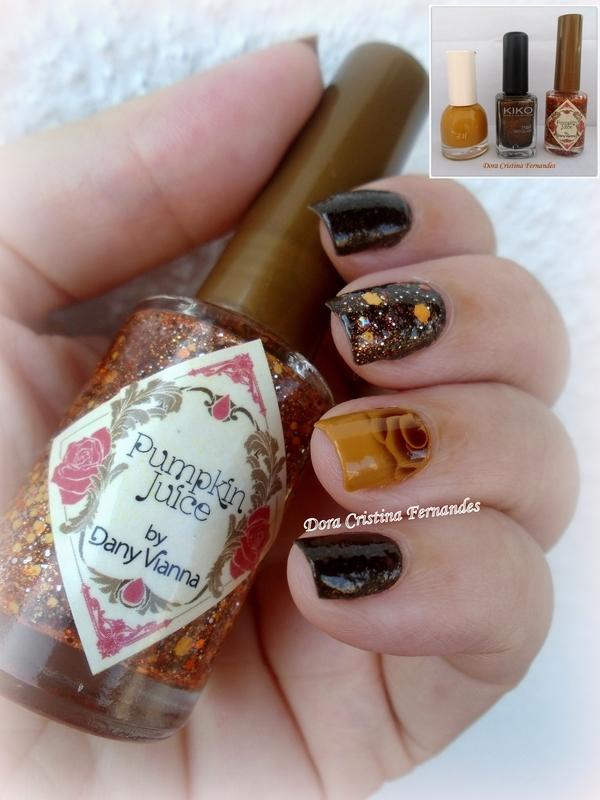 Pumpkin, Coffee  & Turmeric nail art by Dora Cristina Fernandes