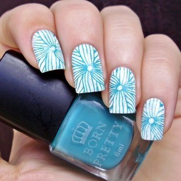 Teal floral manicure with bpl015 4 thumb370f