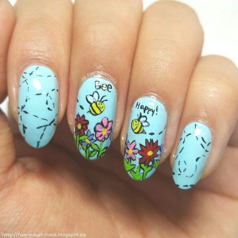 Bee Happy nail art by Shirley X.
