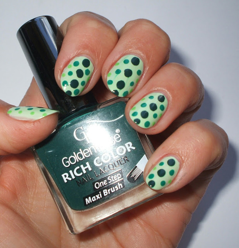 Green dots nail art by only real nails.