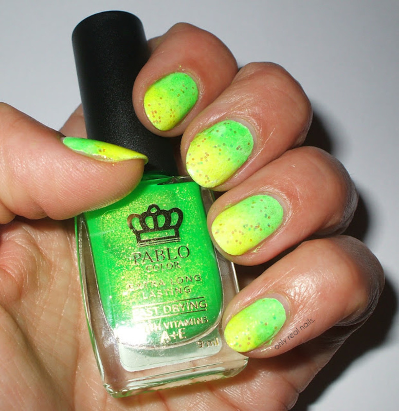 Neon ombre nail art by only real nails.
