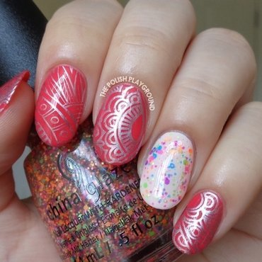 Scented Pink Polish with Silver Abstract Stamping  nail art by Lisa N
