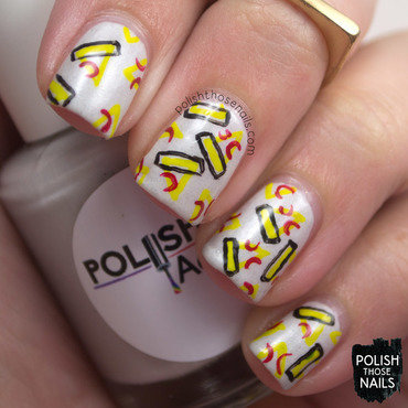 White geometric pizza nail art 4 thumb370f