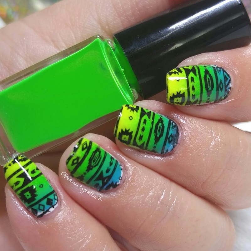 Neon my tribe  nail art by Bellini Solis