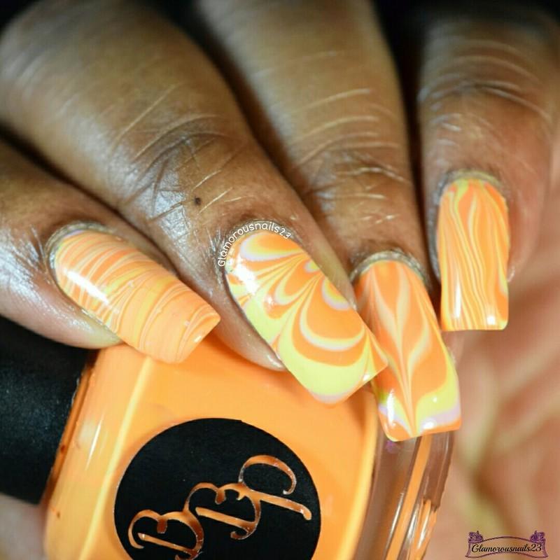 Watermarble Wednesdays: Lilac, Yellow & Orange nail art by glamorousnails23