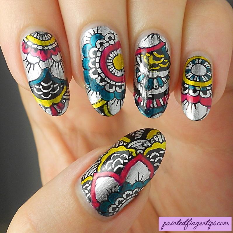 Mandala Leadlighting nail art by Kerry_Fingertips