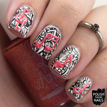 Freehand doodles red music notes nail art 4 thumb370f