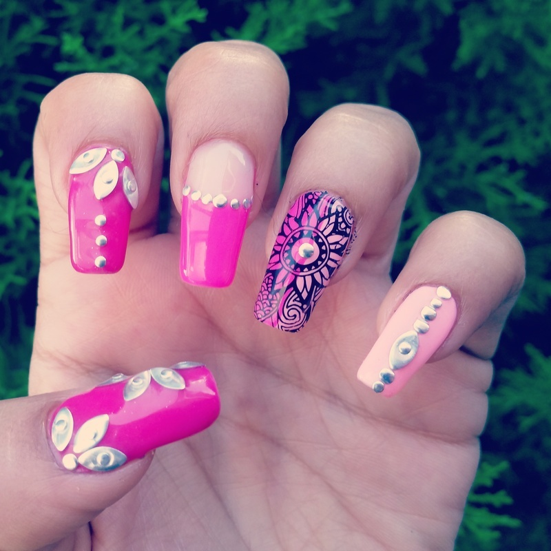 Shades of pink and bling nail art by Yogi Boo