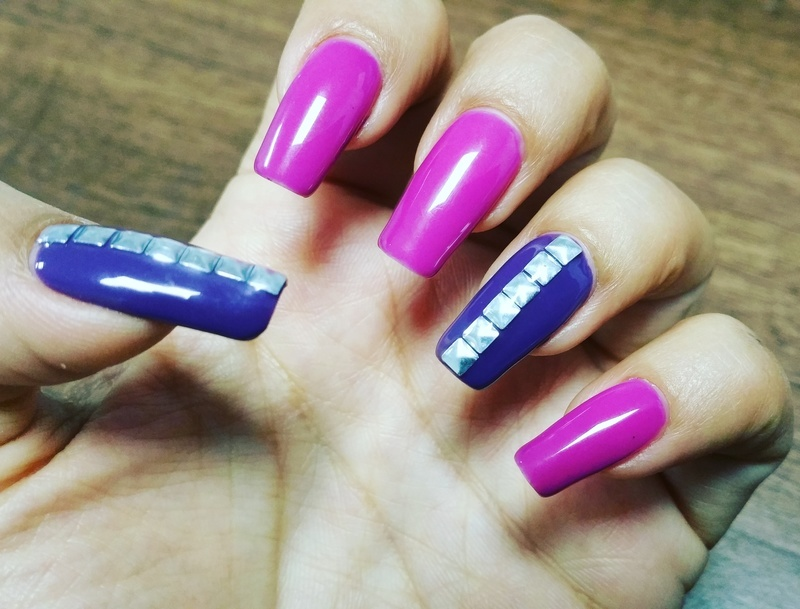 Pink and purple with square metal gems nail art by Yogi Boo