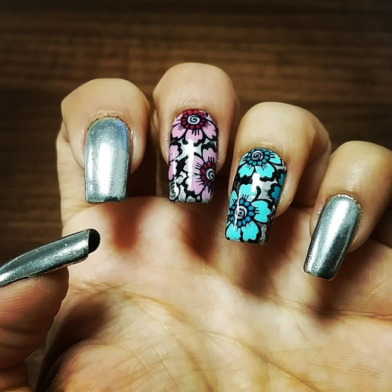 Chrome nails with summer flowers nail art by Yogi Boo