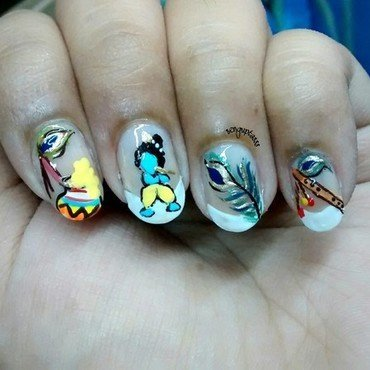 Lord Krishna nail art by Sohini  Sengupta