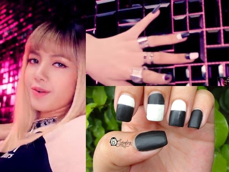 BlackPink Monochrome Nails nail art by Leneha Junsu
