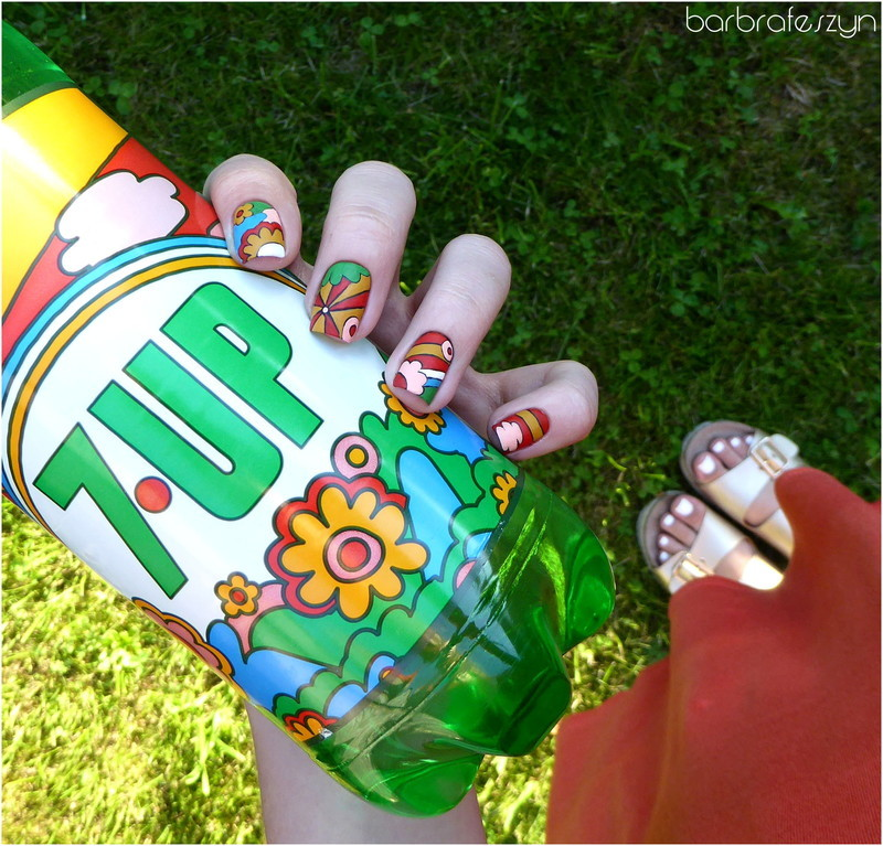 Freehand 7up nails nail art by barbrafeszyn