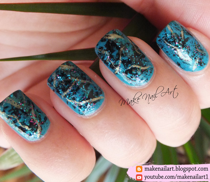 Turquoise Stone Nail Art Design nail art by Make Nail Art