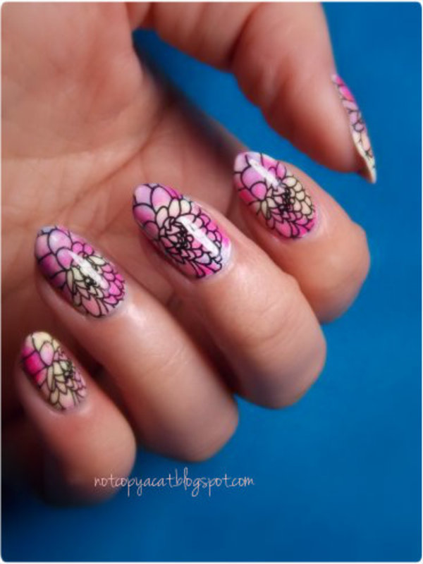 Colourful petals nail art by notcopyacat