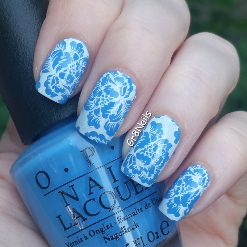 Blue Flowers nail art by Gr8Nails