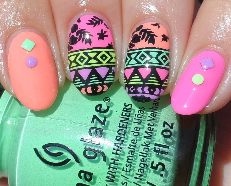 Neon Tribal nail art by Plenty of Colors