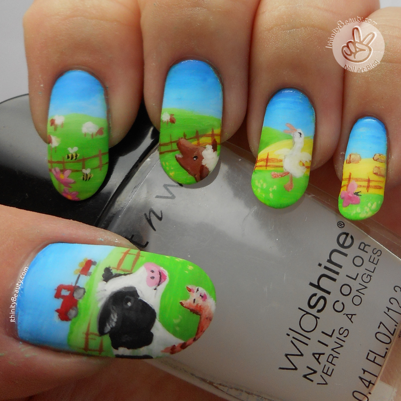 The Noisy Noisy Farm nail art by Ithfifi Williams