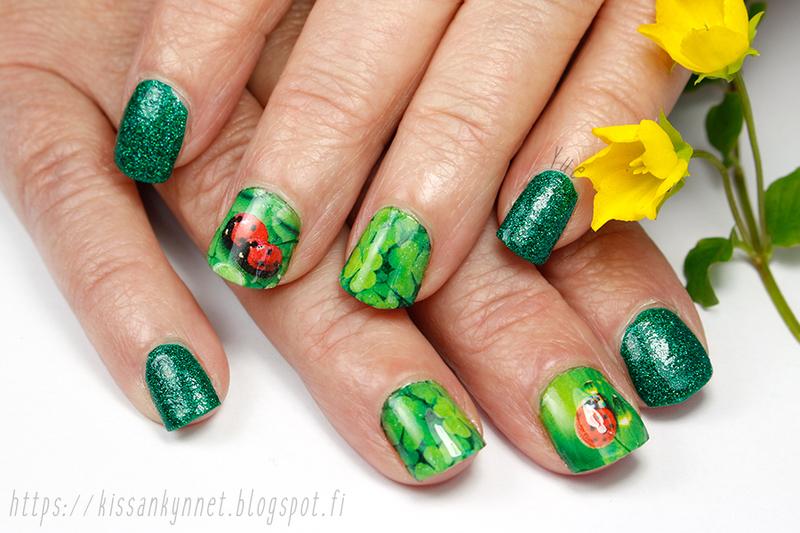 Ladybugs nail art by Yue