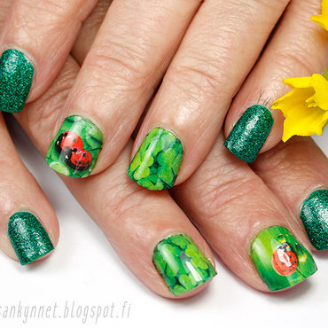 Ladybugs nail art by Yue