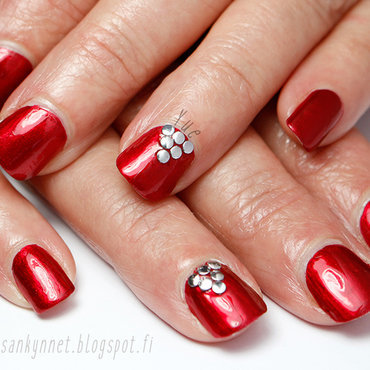 Red and Rivets nail art by Yue