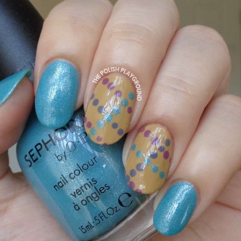 Light Blue Shimmer with Dotted Lines nail art by Lisa N