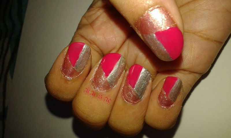 pink and shimmer nail art by Rusa