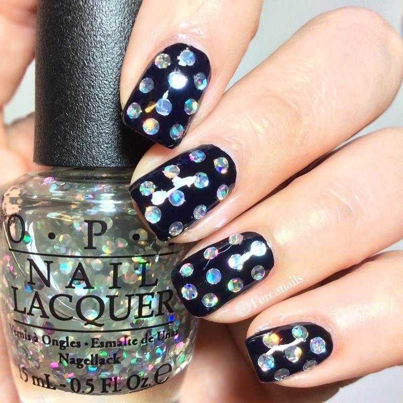 Rainbow polka dots nail art by Fercanails