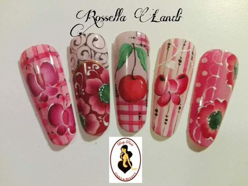 One-stroke 1 nail art by Rossella Landi