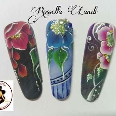 One-stroke 2 nail art by Rossella Landi