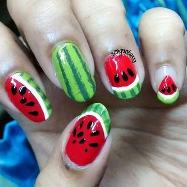 Watermelon nail art by Sohini  Sengupta