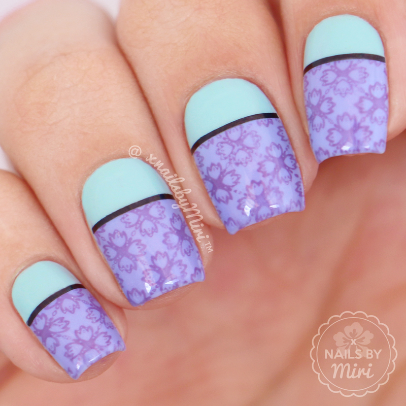 Purple/Mint Color Block + Stamping nail art by xNailsByMiri