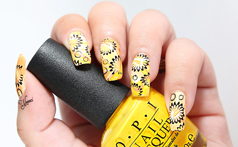 Yellow & orange nail art by Nanneri