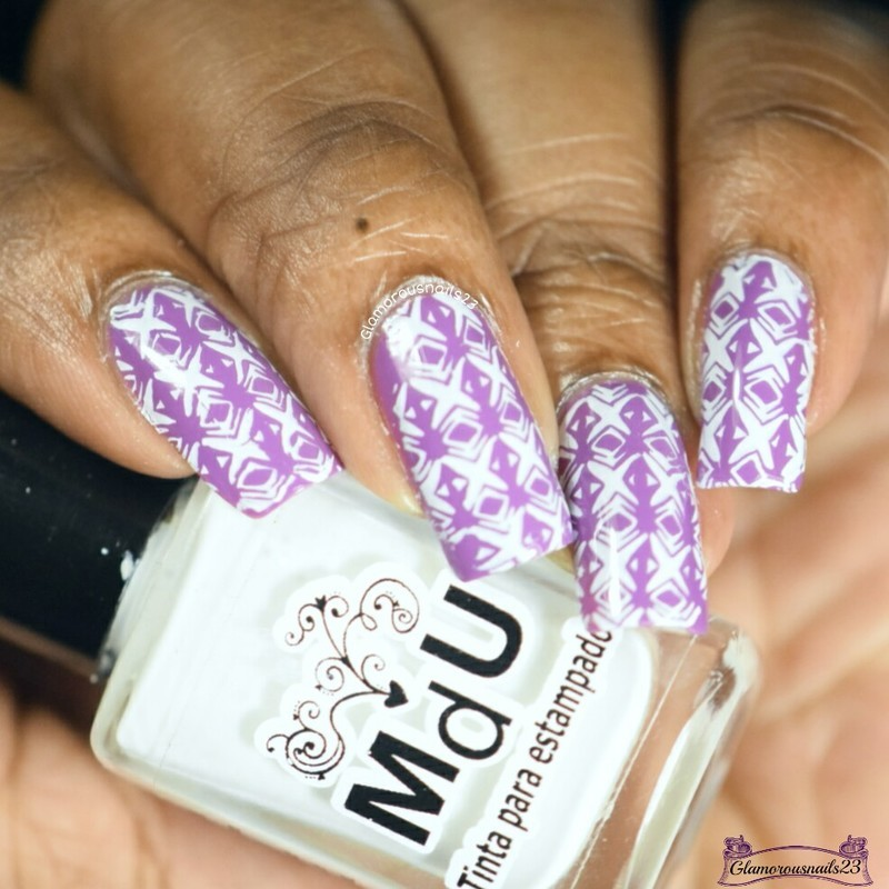 Medium Purple & White Stamping  nail art by glamorousnails23