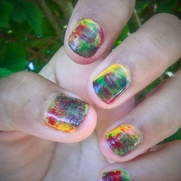 Yellow, Green and Red nail art by Avesur Europa