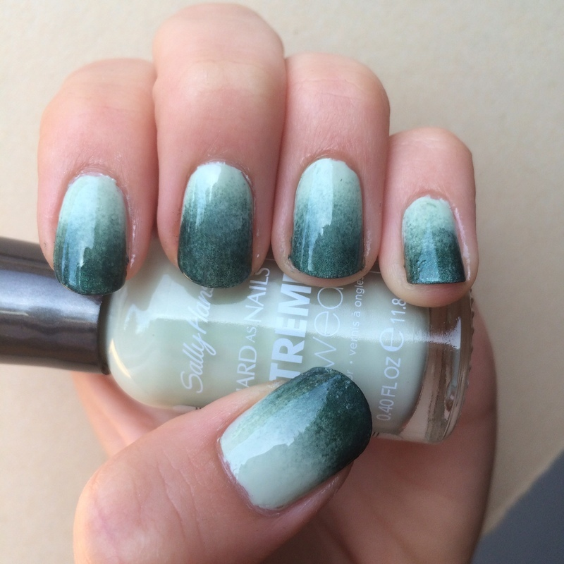 Minty green nail art by skier2201