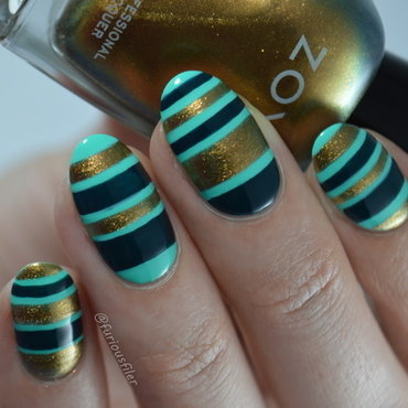 Autumn Stripes nail art by Furious Filer