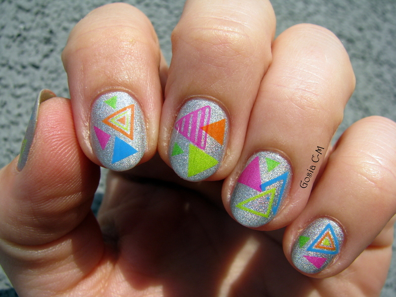 Neon triangles nail art by Nail Crazinesss