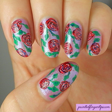 Red roses over darling diva freehand nail art thumb370f